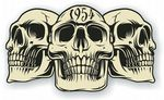 Vintage Biker 3 Gothic Skulls Year Dated Skull 1954 Cafe Racer Helmet Vinyl Car Sticker 120x70mm